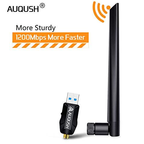 AUQUSH 1200Mbit/s WiFi Adapter[5.8G/867Mbps+2.4G/300Mbps], External 5dBi Antenna mit 11AC Dualband Wireless Adapter und Abnehmbarer WLAN Stick für Windows XP/Win 7/8/8.1/10/Linux/Mac OS.