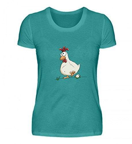 Shirtee Hochwertiges Damen Organic Shirt - Verrücktes Huhn mit Ei - für Alle Bauern, Landwirte und Andere Menschen, Die Hühner Lieben Atollblau
