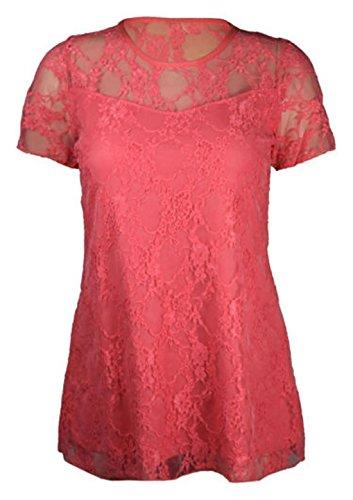 Top da donna elegante in pizzo foderato, mezza manica, motivo floreale, taglie grandi, da 46 a 56 Coral