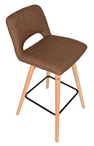 ts-ideen Design Classique Tabouret Chaise Rétro Années 50 Chaise de Bar de Cuisine Salle à manger Bistro Salon Siège marron Bois