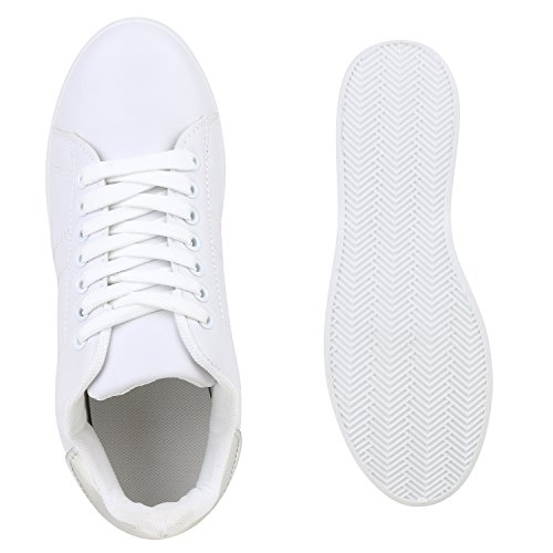 Sportliche Damen Sneakers | Sneaker Low Metallic Lack | Turnschuhe Muster Glitzer | Retro Flats Schnürer | Animalprints Veloursleder-Optik Weiss Silber