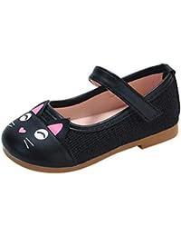 Zapatos de Cuero para Niñas Otoño Invierno 2018 Moda PAOLIAN Zapatos de Vestir Princesa Boda Niñas Fiesta Calzado de Suela Blanda Patrón de Gato Antideslizante Merceditas 1-6 años
