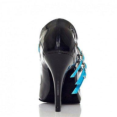 Scarpe da ballo-Da donna-Balli latino-americani / Jazz / Salsa / Samba / Scarpe da swing-Tacco su misura-Di pelle / Blue
