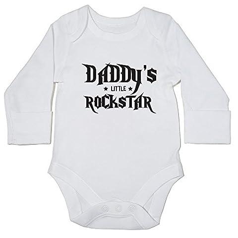 hippowarehouse Daddy's Little Rockstar Body bébé () à manches longues pour garçons filles - blanc - 6 mois