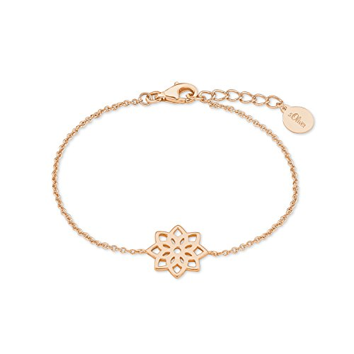 s.Oliver Damen-Armband So Pure 16+3 cm mit Anhänger Blume Lebensblume 925 Silber rosévergoldet