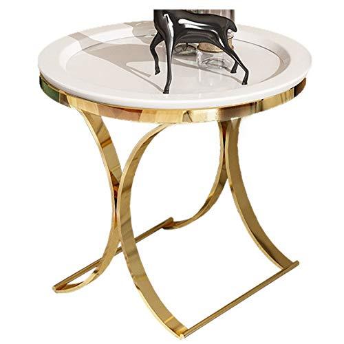 Côté Luxe de Luxe Post-Moderne/Coin en Bois/côté canapé/Petite Table Basse Minimaliste Moderne, Blanc, 50 × 50 × 55,5 cm