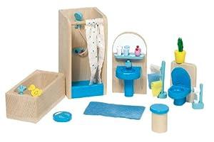 Goki 51903 - Muebles de baño para casita de muñecas, 17 piezas