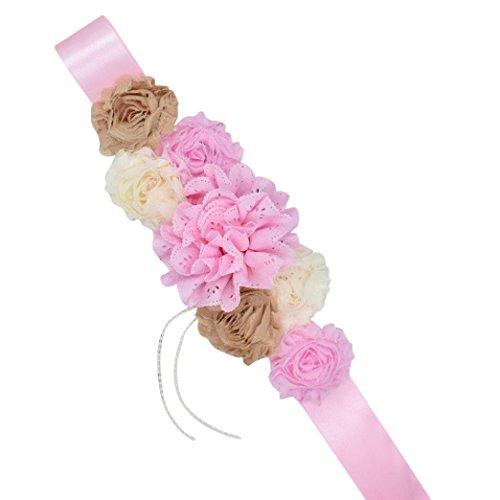 Cinturones para mujeres embarazadas, ASHOP GravidaFloral Pearl Maternity Sash para fotografía y decoración de vestidos (D)