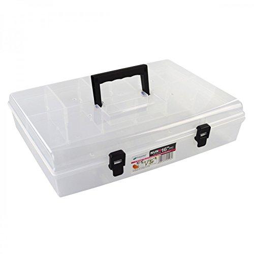 "Sortimentskasten Koffer transparent 6 Fächer Deckel 16"" Nähutensilien Haushaltsbox"