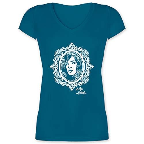 Vintage - Bella Donna - L - Türkis - XO1525 - Damen T-Shirt mit V-Ausschnitt Bohemia Blossom