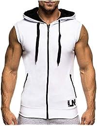 Camisa De Hombre Sport Capucha con Tops Sudadera Ropa Sudadera con Capucha Sin Mangas Slim Fit