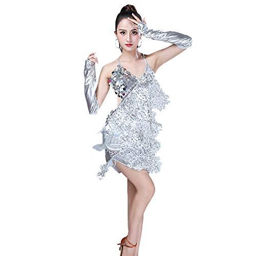 Huatime Latein Tanz Kleider Röcke Damen - Mädchen Franse Pailletten Kleider Bekleidung Tanzkleid Kostüm Turnierkleid Salsa Tango Kleid Samba Rumba Ballsaal Cha Cha