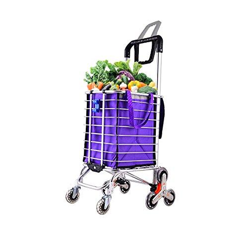 Einkaufswagen Einkaufswagen Trolley Einkaufen Blau Ablagekorb Zugstange Hohe Kapazität ,Purple-44*30*106cm