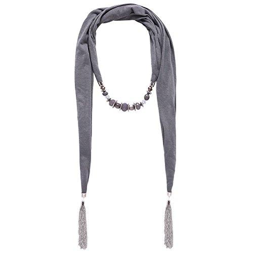 �hmischen Stil einfarbig mit Quasten Harzperlen Schal Halskette(01003028) (grau) (Halloween-dekoration Verkauf)