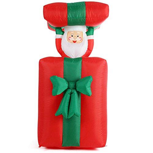 Bakaji scatola da regalo gonfiabile con babbo natale movimento automatico verticale altezza massima 150 cm con kit fissaggio per esterno illuminazione led protezione ip44 decorazione natalizia