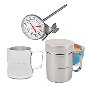 Andrew James Barista Coffee Kit with Milk Frothing Jug Chocolate Shaker & Thermometer | Stainless Steel Tools for Cappuccino Latte Espresso & Other Barista Style Coffees