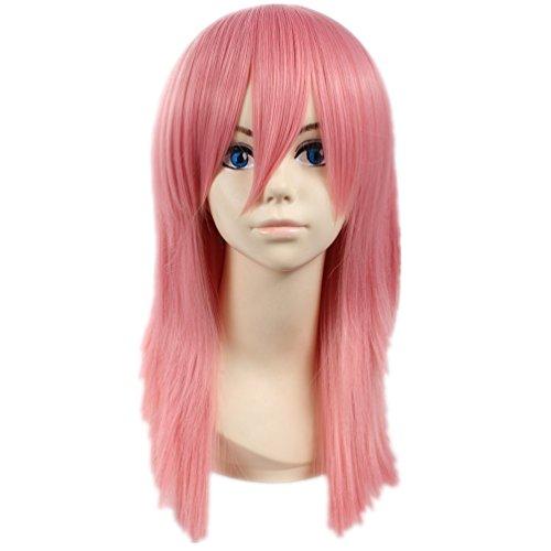 COSPLAZA Cosplay Kostueme Peruecke Mittlerer Laenge Pink Anime Haar mit Perueckennetz