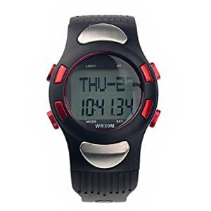 Foxnovo 1005 All-in-one Waterproof Strapless Heart Rate Monitor Calorie Counter Digital Watch with Pedometer /Stopwatch (Red)