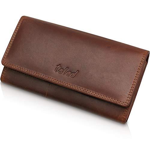 Taled Geldbeutel aus hochwertigem Büffelleder mit RFID-Schutz - Damen Geldbörse inkl. E-Book für Lederpflege - Portemonnaie Wallet - Made IN Germany -