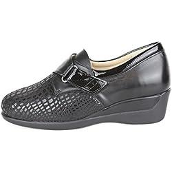 Zapatos para juanetes y pie diabetico. Zapatos con Anchos Especiales con Plantilla Extraible para pies delicados. Zapato con Velcro Color Negro con Pala Elástica (39 EU)