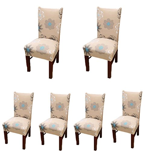6 x Stretch Dining Room Chair Slipcovers with Printed Pattern, Banquet Chair Seat Protector Slipcover for Hone Party Hotel Wedding Ceremony (I)