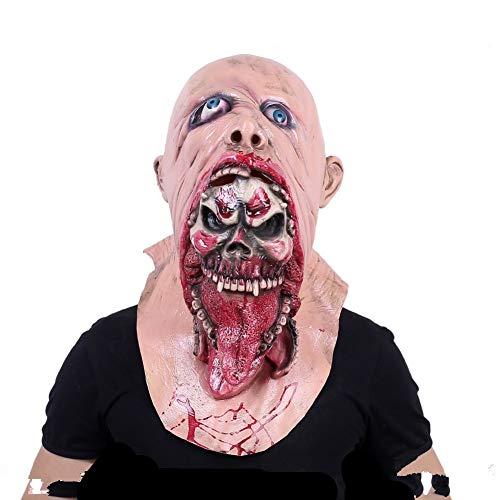 Zombie Kostüm Ausgefallenes - Voller Kopf Gesicht Halloween Maske Erwachsene Latex Beängstigend Maske Zombie Schreckliche Maske Kostüm Ausgefallenes Blutige Mund Horror Maske