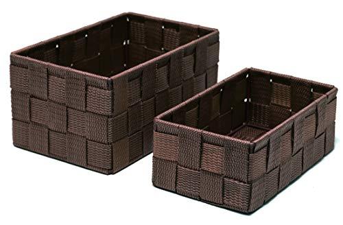 Lashuma Badkörbchen 2er Korb Set, Rechteckige Regalkörbe in Braun, Körbchen Größen: 19 x 10 x 7 cm und 20 x 13 x 10 cm - Bad Korb-set