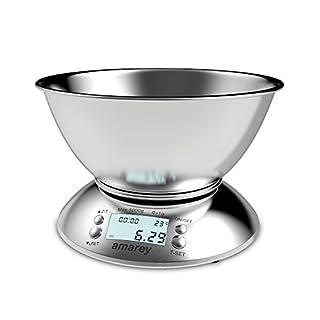 11lb/5kg Digitale Küchenwaage, Multifunction Edelstahl Electronische Waage, Digitalwaage Professionelle Waage, Briefwaage mit 2.15L Abnehmbarer Rührschüssel,LCD-Display, Temperatur Sensor und Timer