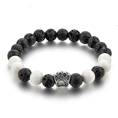 art Hund Pfote Perlen Lava Charme Armbänder Armreif Für Frauen Natürlichen Onyx Stein Chakra SchmuckFür Pulseras Hombre ()