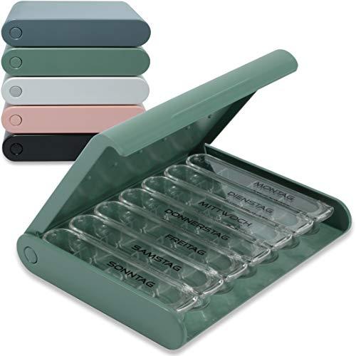 24/7 MEDICASE Dänische Design Pillendose für 7 Tage - Für kleine bis mittlere Dosen von Pillen (Staub Grün)