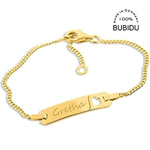 Baby ID Armband gold zur Taufe Geburt ❤️ Taufarmband mit Gravur aus 925 Silber vergoldet mit Herz ❤️ Namensarmband Baby…