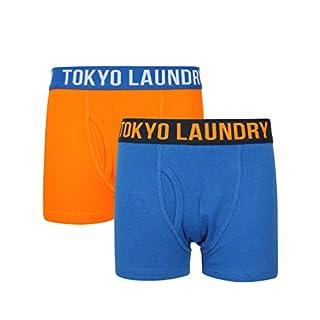 Boys Alton Boxer Shorts in Vibrant Orange & Ocean - Tokyo Laundry-10-11 Years