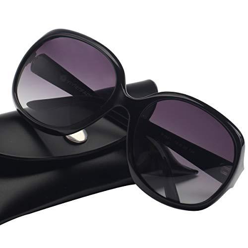Vintage Damen übergroßen Sonnenbrille Polarisiert Elegant Square Sunglasses P1981C Black
