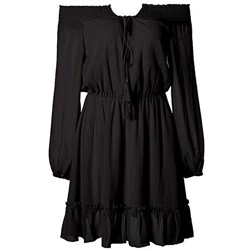 SXZG Herbst und Winter Frauen eine Schulter Taille Laterne Ärmel Chiffon-Kleid