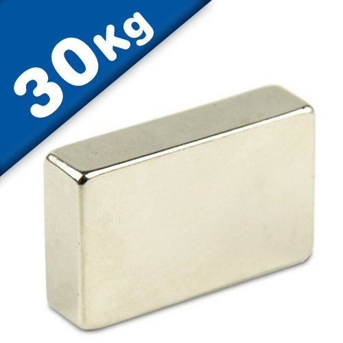 Neodym Magnet-Quader Quadermagnet (NdFeB) - Größe & Stückzahl wählbar - Haftkraft bis 800kg - Extra starke Block-Magnete (Supermagnete), Größe: 40x30x10mm - 30kg Haftkraft