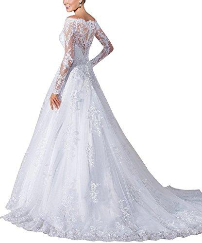 maintenant et à jamais col bateau–Une Ligne manches longues Dentelle Robe de mariage Blanc