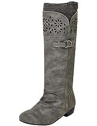 POLP Botas Planas Mujer Invierno Zapatos Elegante Respirable Bordado Zapatos  Moda Malla Alto Botas Botas de e758c335fee5