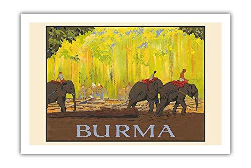 Pacifica Island Art - Birmania, Myanmar - Elefantes - Póster de Vuelta...
