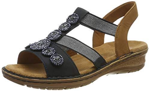 ARA Damen Hawaii 1237207 T-Spangen Sandalen, Blau, Nuss 75, 42 EU