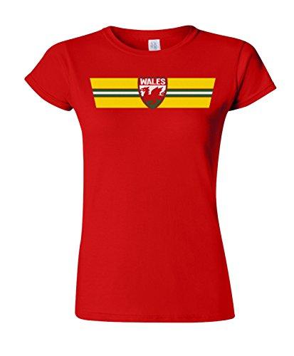 WALES Patriotic Retro Strip T-Shirt *Scegliere Tra Mens Donne Bambini e Neonati* Rosso (Ladies)