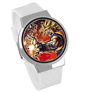Jungen Digitaluhren,Touchscreen LED Kreative DIY Uhr Dragon Ball Animation Um Super Saiyan Wasserdicht Touchscreen Uhr Weiß