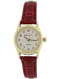 Philip Mercier–bisel rojo correa de PU, estilo de cocodrilo en color dorado señoras reloj sml70a