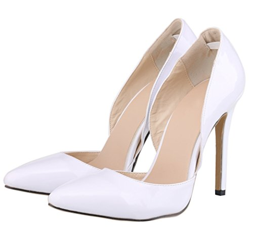 HooH Femmes D'Orsay Pointed Toe Stiletto Mariage Pumps Blanc