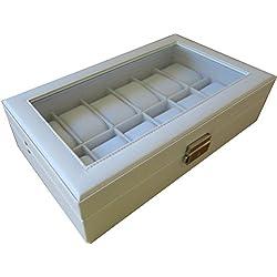 Uhrenbox weiß für 12 Uhren in Leder Uhrenschatulle mit stabiler Scharnierhalterung