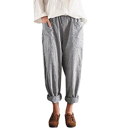 TUDUZ Damen Hohe Taille Vintage Streifen Lose Baumwolle Leinen Lange Hosen Pluderhosen (Leinen Bein Hohe Hose Taille Weites)