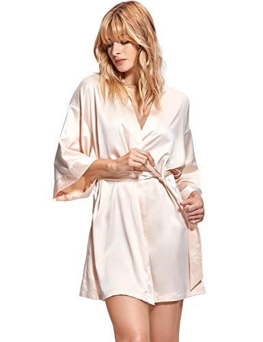 DOBREVA Damen Kimono Satin Kurz Morgenmantel Bademantel V Ausschnitt Beige XS/S
