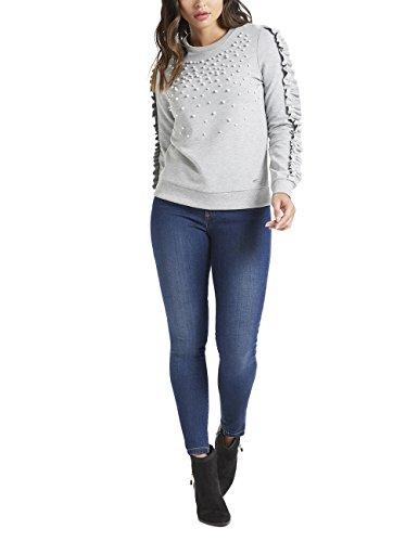 Lipsy Damen Pullover mit Rüschen und Perlen Grau S (Seide Rollkragen Jersey)