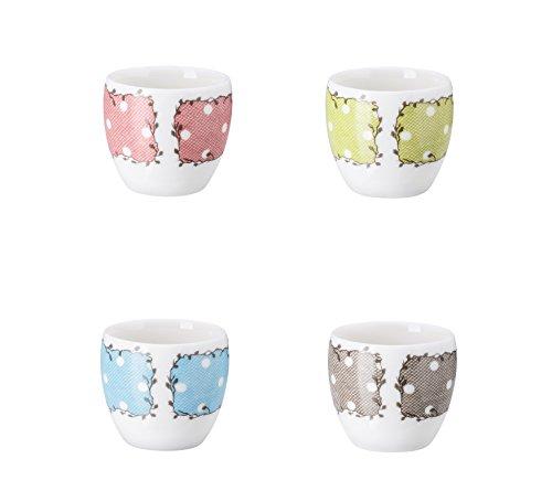 Hutschenreuther Set de 4 Coquetiers Couleurs Assorties 4, Porcelaine, Multicolore, 4 x 4 x 5 cm, 4 unités de