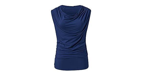 72db1ea79752 Youthny T-Shirt sans Manches Col Rond Simple Femme Été Couleur Pure   Amazon.fr  Vêtements et accessoires