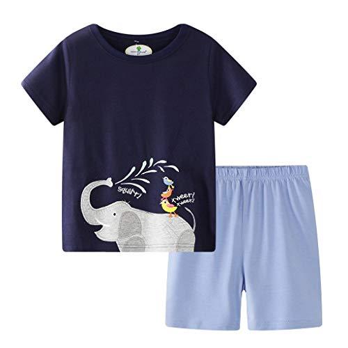 Tyoby Baby T-Shirt Cartoon-Drucken Kurzärmliges Oberteil +Baumwollshorts Zweiteiliges Set,Sommer Zuhause eingestellt(MarineA,7T)